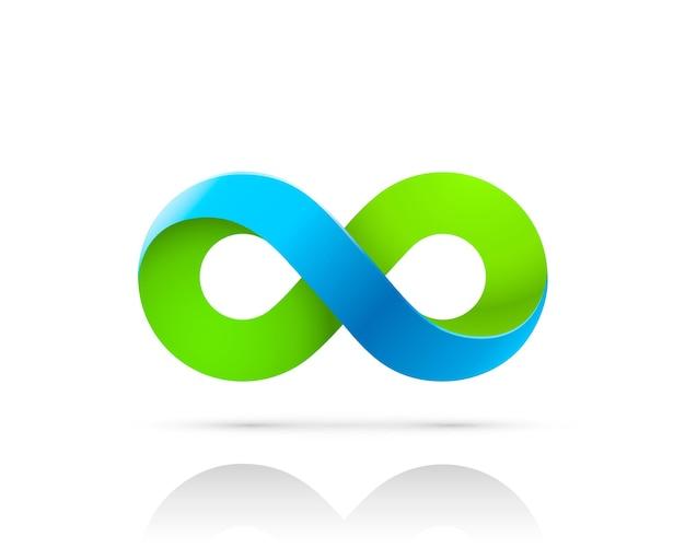 Símbolo do infinito cor azul verde da informação da arte. ilustração vetorial