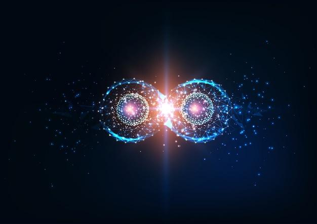 Símbolo do infinito futurista, entrelaçamento quântico, conceito de ciência física do futuro.