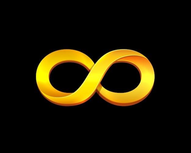 Símbolo do infinito ouro sobre o fundo preto. ilustração vetorial