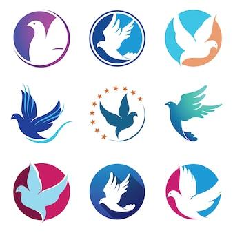 Símbolo do logotipo das asas da mosca do pássaro do pombo da pomba