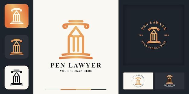 Símbolo do logotipo legal do pilar da caneta e design de cartão de visita