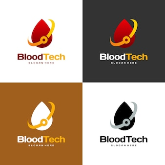 Símbolo do logotipo pixel blood, modelo de design de logotipo blood healthcare, vetor de conceito de design de logotipo blood technology