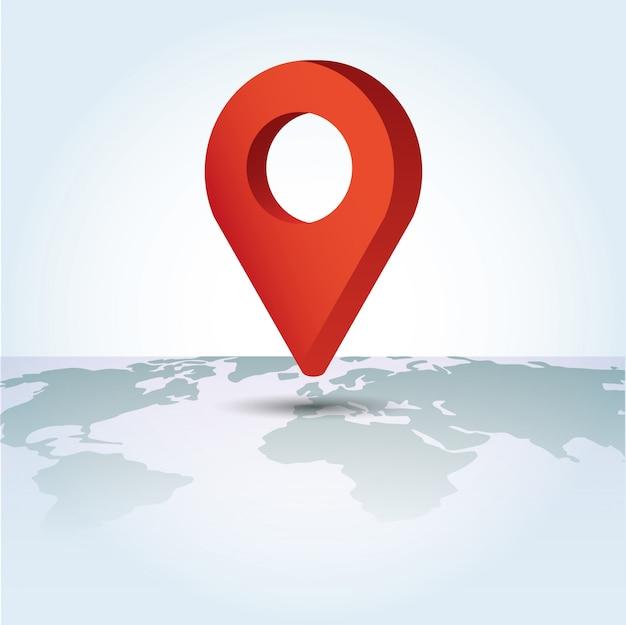 Símbolo do ponteiro do mapa em um mapa global