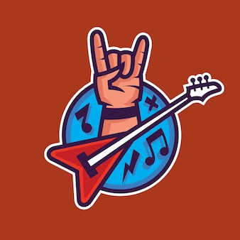 Símbolo do rock'n'roll. arte conceitual da música rock em estilo cartoon.