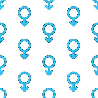 Símbolo do sexo masculino padrão sem emenda em um fundo branco. ilustração em vetor de tema de gênero