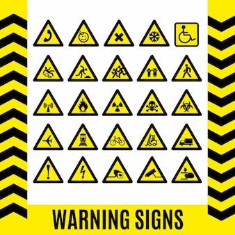 Símbolo do sinal de aviso ajustados elemento de design