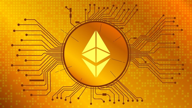 Símbolo do token de criptomoeda ethereum, ícone de moeda eth em círculo com pcb sobre fundo dourado. ouro digital em estilo techno para site ou banner. vetor eps10.