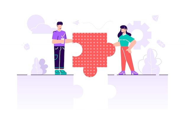 Símbolo do trabalho em equipe, cooperação, conceito de parceria. metáfora da equipe