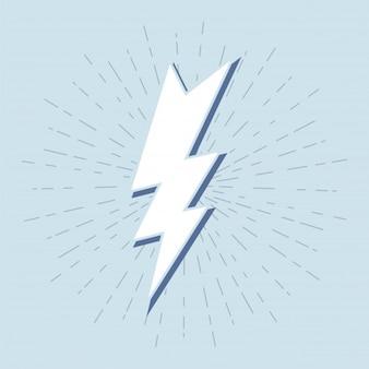 Símbolo do trovão vintage com sunburst em fundo grunge