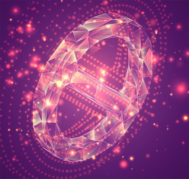 Símbolo do vetor 3d, objeto volumétrico em um fundo rosa. layout para negócios e apresentação