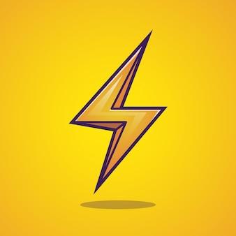 Símbolo dos desenhos animados do sinal do trovão do relâmpago. isolado.