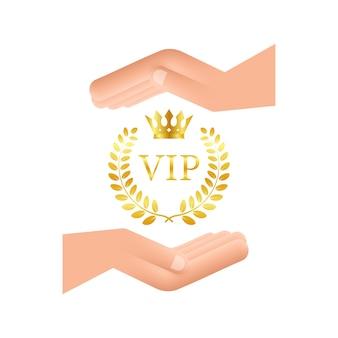 Símbolo dourado da exclusividade o rótulo vip com glitter nas mãos pessoa muito importante vip i