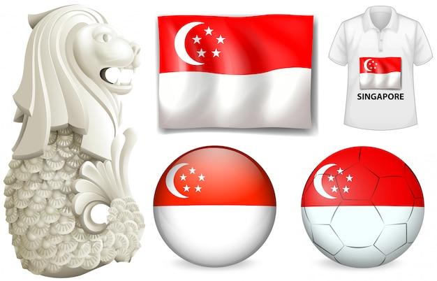 Símbolo e bandeira de singapura