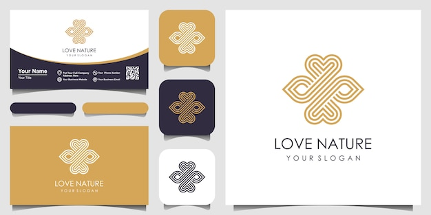 Símbolo e folha elegante minimalista amam logotipo com estilo de arte linha. logotipo para beleza, cosméticos, yoga e spa. design de logotipo e cartão de visita.