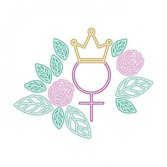 Símbolo feminino de gênero com coroa