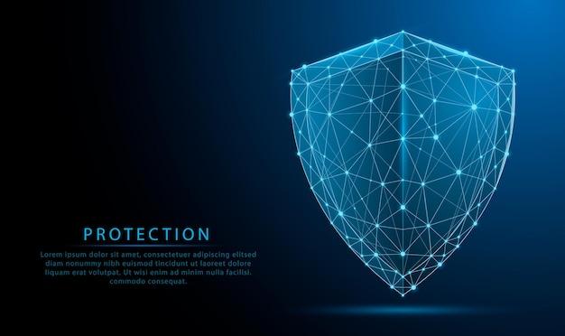 Símbolo futurista de escudo poligonal baixo brilhante 3d em fundo azul escuro cibersegurança