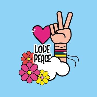 Símbolo hippie agradável com mão de paz e amor