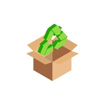 Símbolo internacional de reciclagem isométrico verde