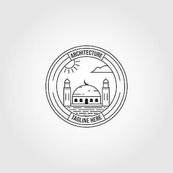 Símbolo islâmico logotipo linha arte ilustração vetorial design