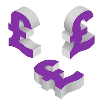 Símbolo isométrico libra esterlina moeda.