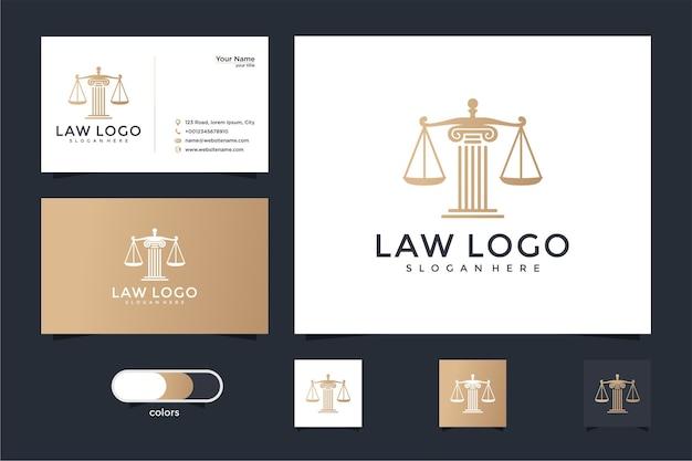Símbolo legal de justiça. escritórios de advocacia, escritório de advocacia, serviços de advogado, modelo de design de logotipo de luxo e cartão de visita