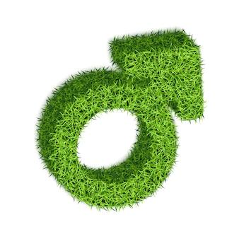 Símbolo masculino de marte com textura de grama.
