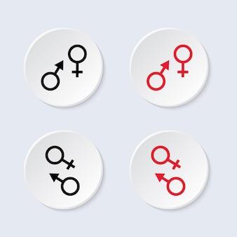 Símbolo masculino e feminino. ícone do vetor.