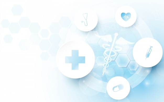 Símbolo médico de caduceu e abstrato geométrico com fundo do conceito de medicina e ciência