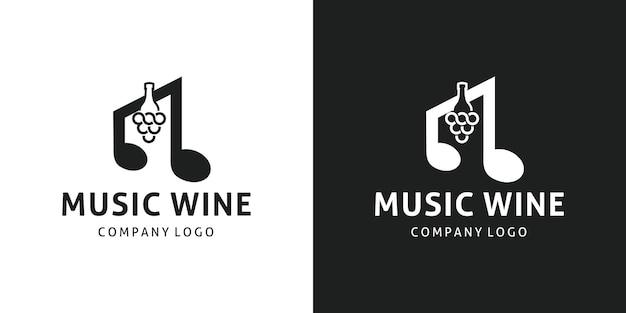 Símbolo musical negativo para garrafa de vinho design de logotipo