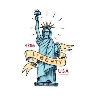 Símbolo nativo americano estátua da liberdade ou liberdade. marco de nova york. mão gravada desenhada no desenho antigo. etiqueta ou crachá.