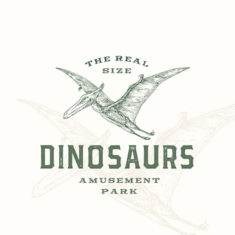 Símbolo ou logotipo de sinal abstrato de parque de diversões de dinossauros em tamanho real