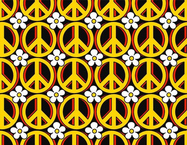 Símbolo pacifista hippie anos 70 e flores padrão sem emenda. vetorial mão desenhada linha doodle papel de parede de ilustração dos desenhos animados. impressão trippy dos anos 70 lsd, círculo do pacífico dos anos 60, conceito de padrão sem emenda de símbolo hippie