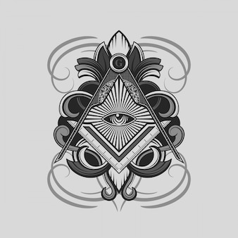 Símbolo quadrado e compasso maçónico