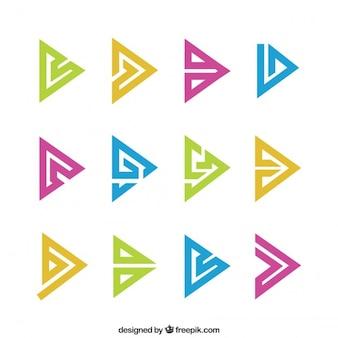 Símbolos abstratos triângulo no bloco cores