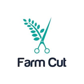 Símbolos agrícolas e tesouras de corte simples e elegante, criativo, geométrico e moderno, design de logotipo
