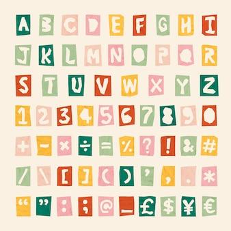 Símbolos, alfabeto, letras de fonte de números