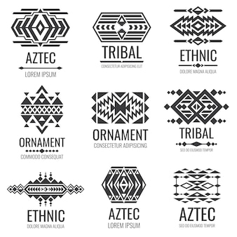 Símbolos astecas mexicanos. ornamentos de vetor tribal vintage