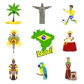 Símbolos brasileiros tradicionais com conjunto de pessoas