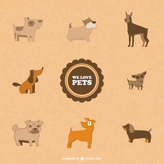 Símbolos cães bonitos do vetor