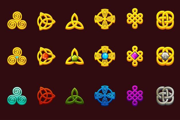 Símbolos celtas em diferentes variações. desenhos animados conjunto de ícones celtas.