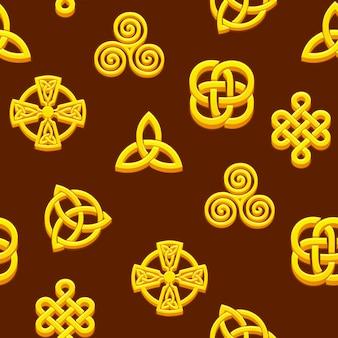 Símbolos celtas sem costura padrão. ícones celtas dourados