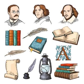 Símbolos coloridos de literatura e teatro. conjunto de imagens de doodle