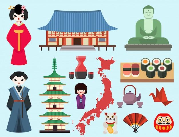 Símbolos coloridos planos do japão viagens e turismo na ásia projetam arte tradicional da arquitetura oriental de fuji.