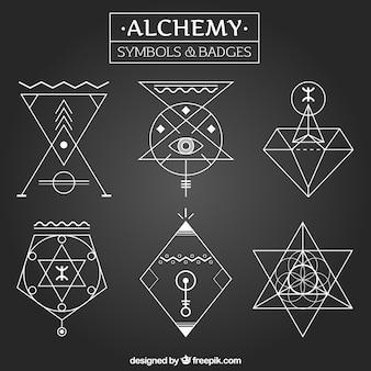 Símbolos da alquimia e distintivos em estilo linear