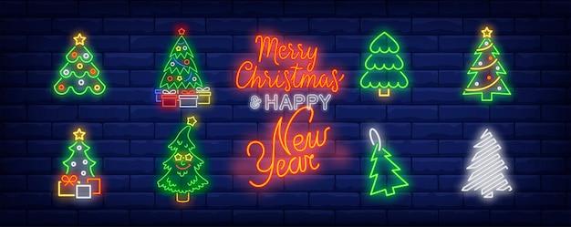 Símbolos da árvore de ano novo em estilo neon