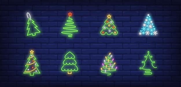Símbolos da árvore de natal em estilo neon