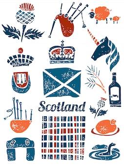 Símbolos da escócia em estilo lino