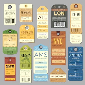 Símbolos da etiqueta do vintage da bagagem do carrossel da bagagem. bilhete de trem antigo e símbolo de carimbo de viagem de avião.