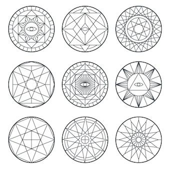 Símbolos de alquimia espiritual.