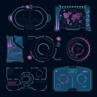 Símbolos de alta tecnologia futurista de interface de tecnologia